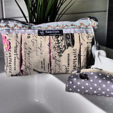 Set aus Waschtasche und Taschentuchspender